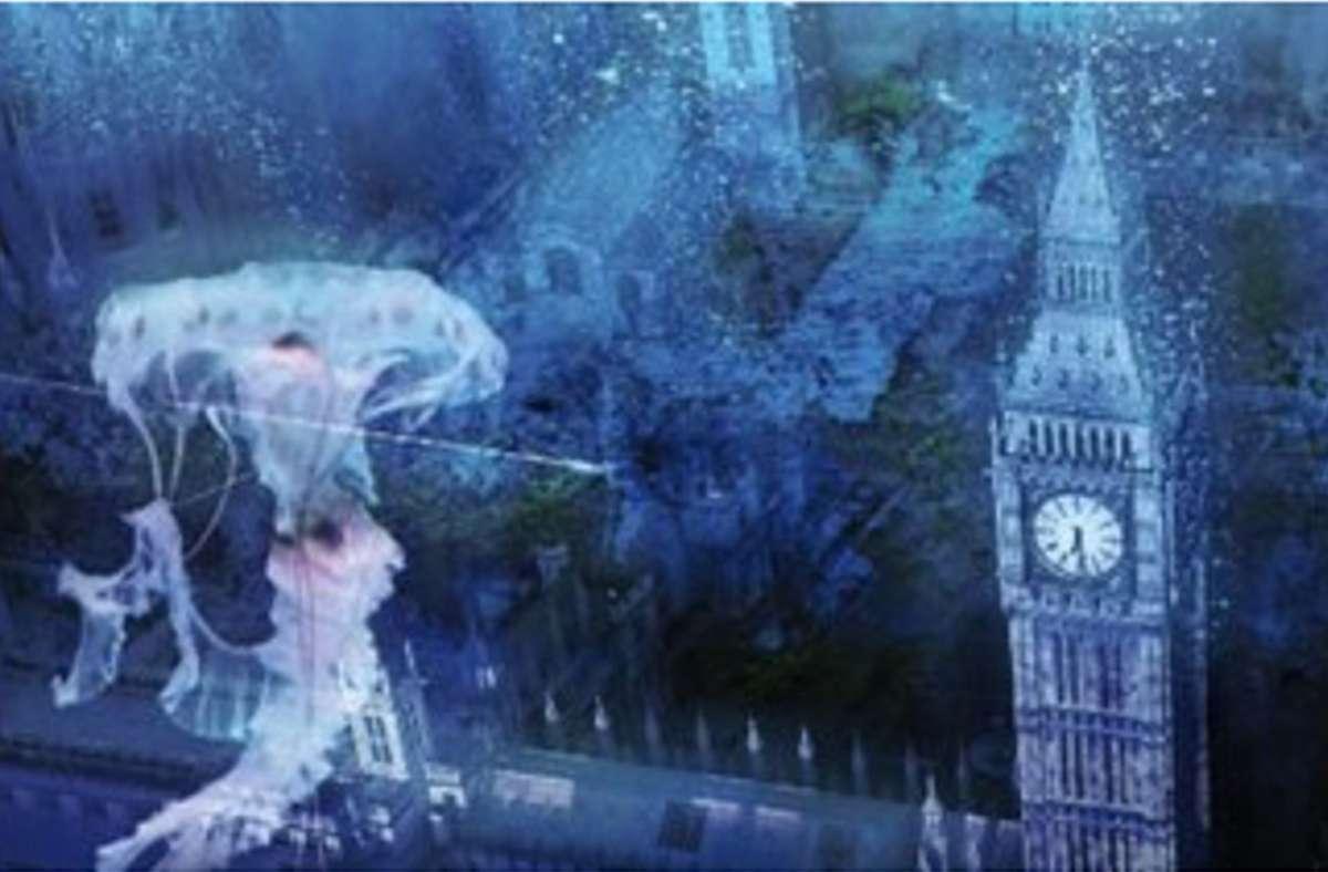 """London Shahs Dystopie """"Water Rising"""" spielt im Jahr 2099, die ganze Welt steht unter Wasser, auch die englische Hauptstadt. Foto: Cover/Loewe-Verlag"""