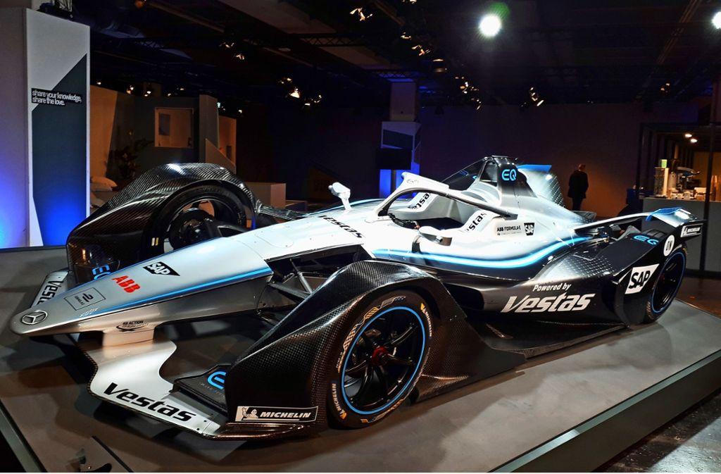Der neue Formel-E-Renner von Mercedes. Foto: StZ/StN
