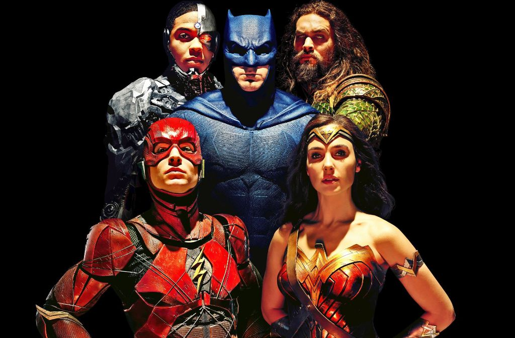 Immun gegen alle Fashion-Trends (von links oben): die Superkluftenträger Cyborg (Ray Fisher), Batman (Ben Affleck), Aquaman (Jason Momoa), Wonder Woman (Gal Gadot) und Flash (Ezra Miller) Foto: Verleih