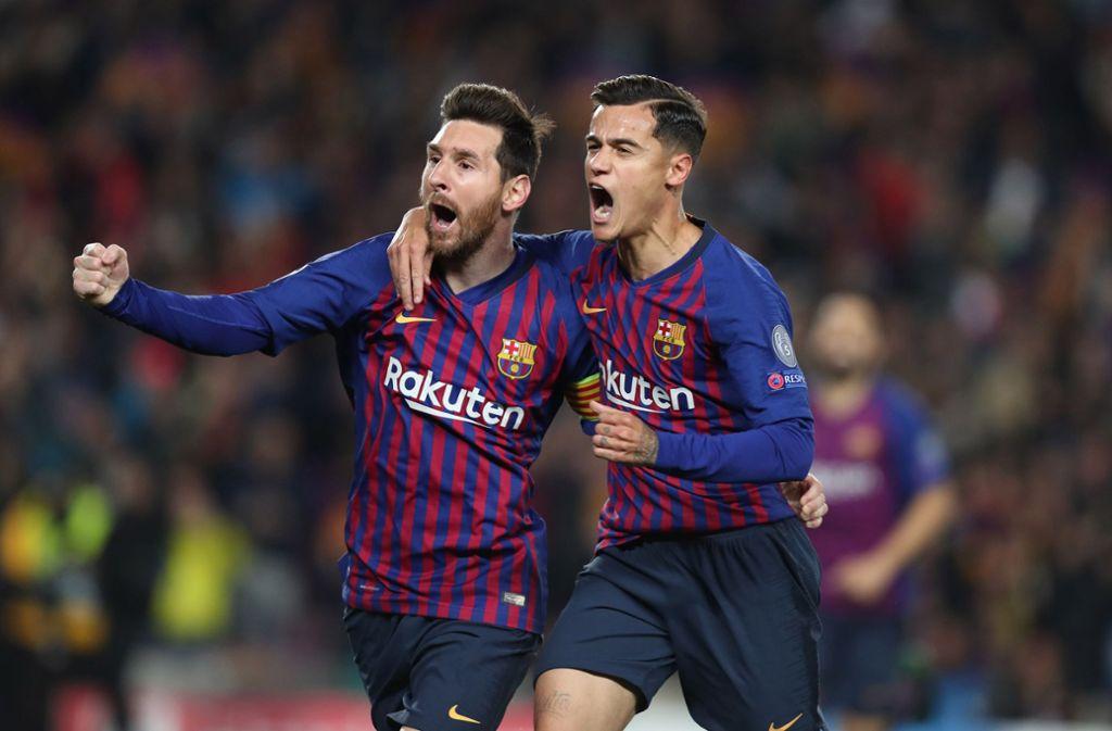 Torschützen unter sich: Lionel Messi (links) und Philippe Coutinho. Foto: pixathlon