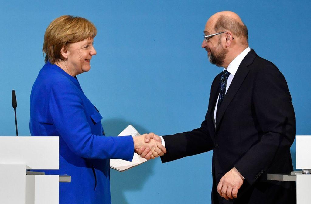 Union und SPD sind sich einig, Koalitionsgespräche zu führen. Foto: AFP