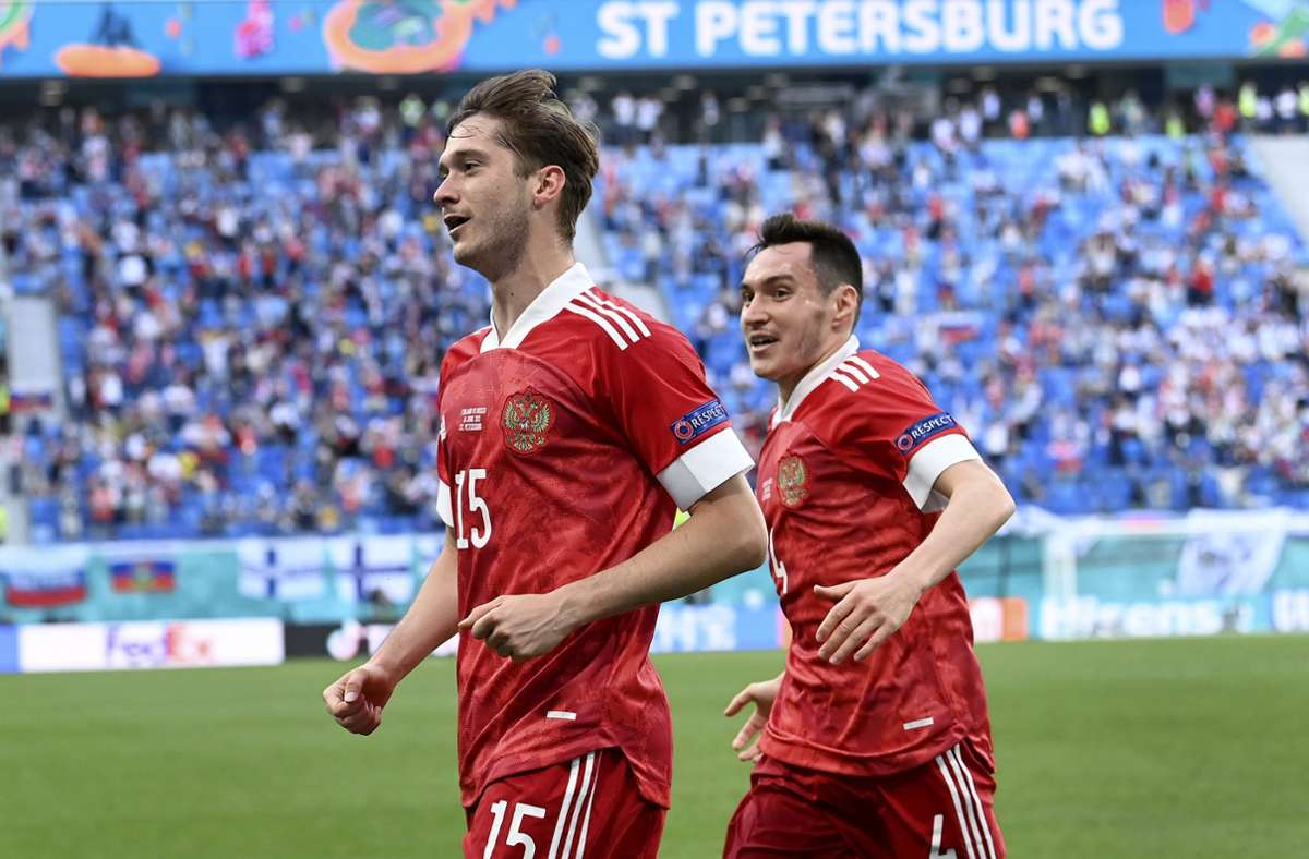 Russland hat bei der EM 2021 gegen Finnland mit 1:0 gewonnen. Foto: dpa/Kirill Kudryavtsev