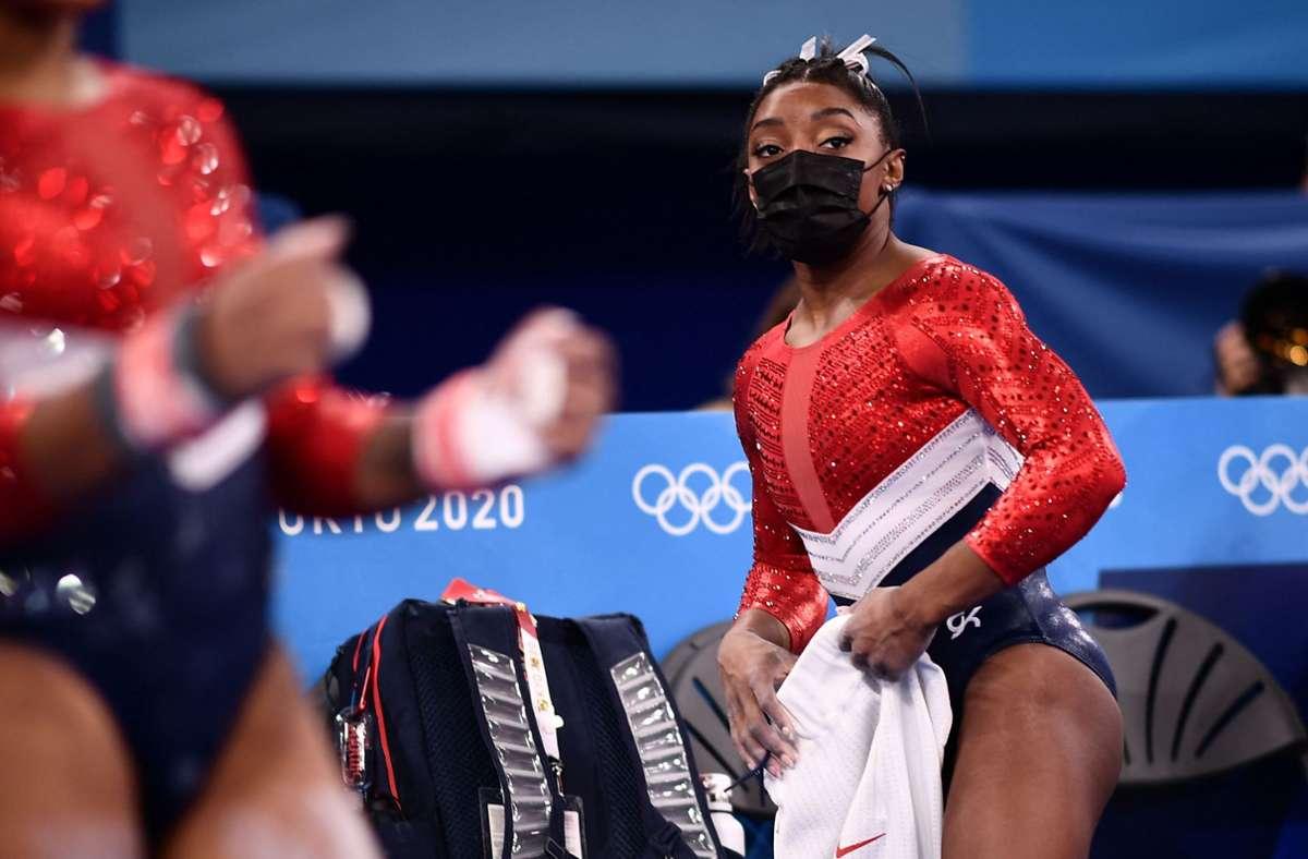 Simone Biles ist beim Mehrkampf-Finale ausgestiegen. Foto: AFP/LOIC VENANCE