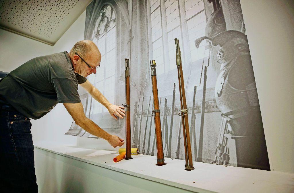 Das erste Waiblinger Museum ersteht dank Fototapete im aktuellen Haus der Stadtgeschichte wieder auf. Foto: Gottfried Stoppel