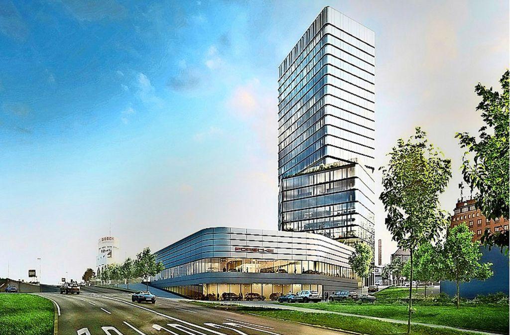 Der Plan: Das Porsche-Zentrum mit der neuen Niederlassung neben einem 90 Meter hohen Turm, der eine Restauranterrasse bekommt. Foto: Porsche/Bülow AG