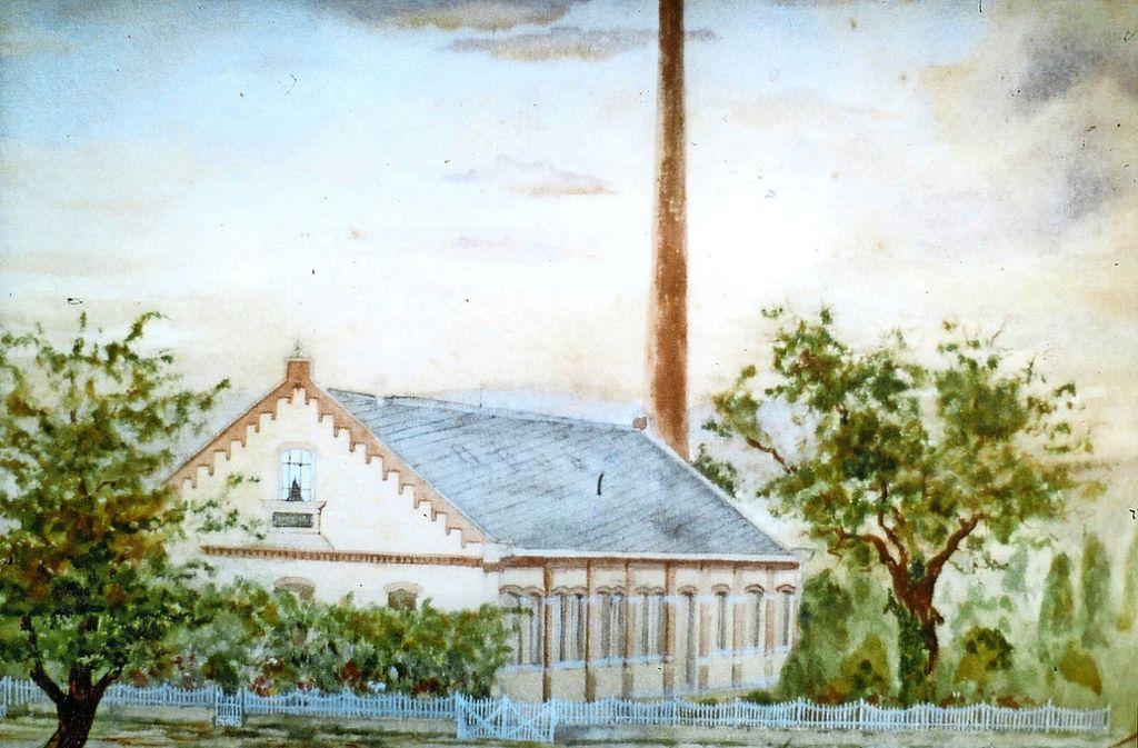 So sah ein zeitgenössischer Maler das neue Wasserwerk in Münster. Foto: