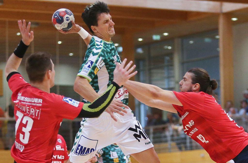 Sieben Tore für Frisch Auf beim HC Erlangen: Linkshänder Nemanja Zelenovic. Foto: Baumann