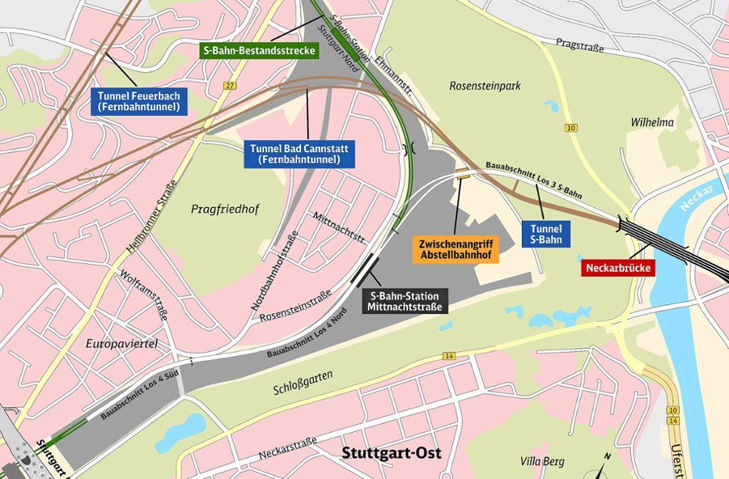 Der Verlauf des S-Bahn-Tunnels zwischen   Neckarbrücke und S-Bahn-Halt Mittnachtstraße. Foto: DB Projekt Stuttgart-Ulm GmbH