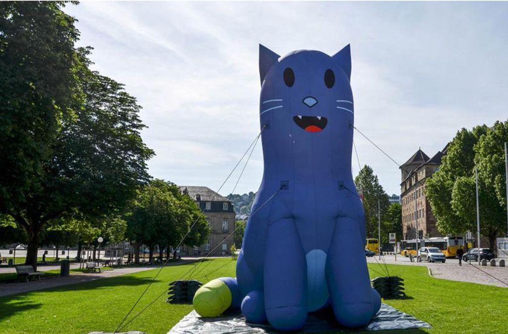 Die rätselhafte blaue Katze, die  Ende Mai in Stuttgart auftauchte. Foto: Innenministerium Baden-Württemberg