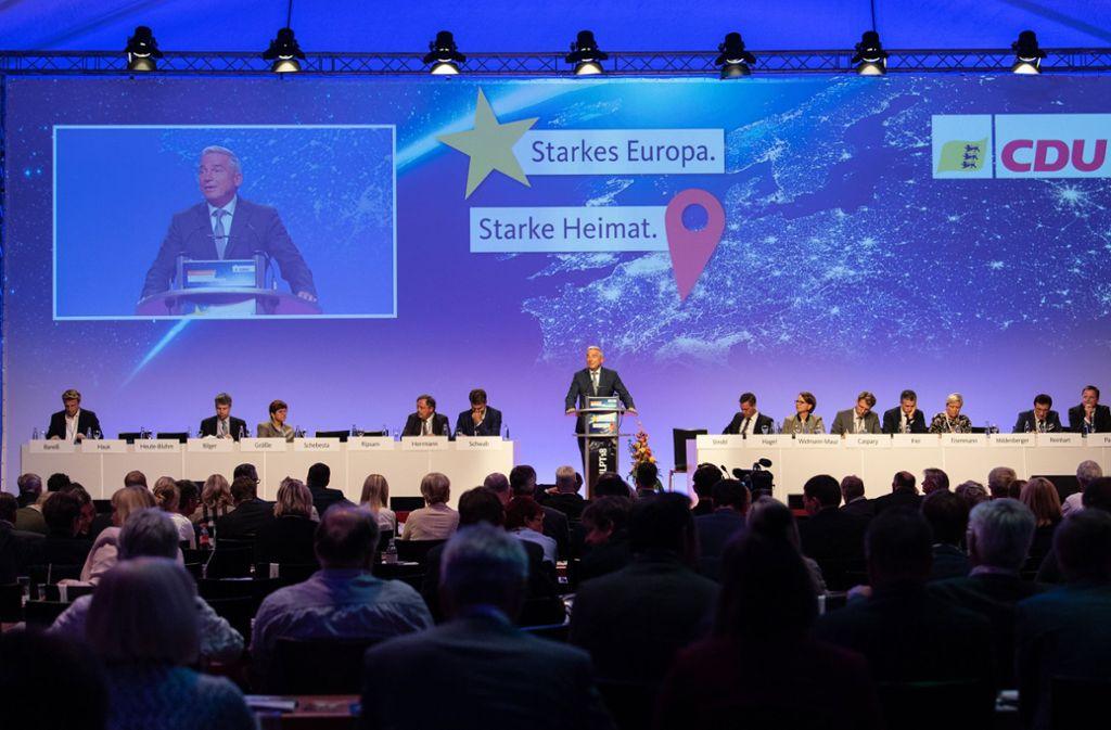 Bei ihrem Parteitag in Rust hat die Südwest-CDU ihr Europa- und ihr Kommunalwahl verabschiedet Foto: dpa
