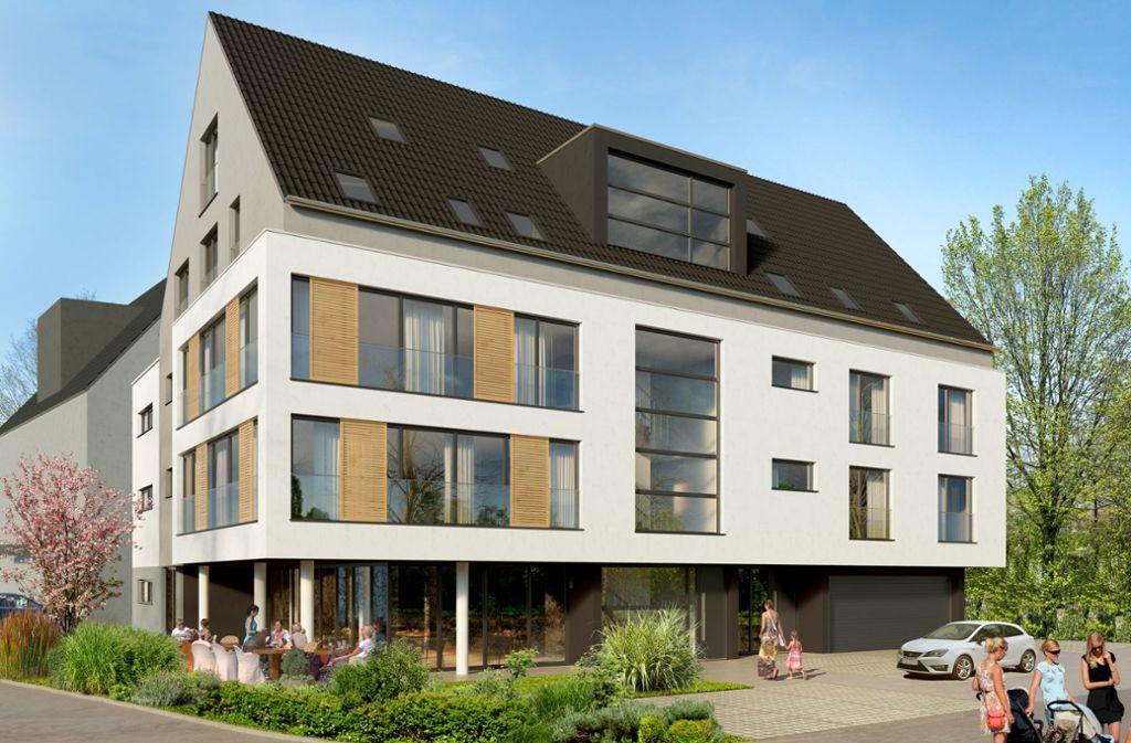 Der Neubau mit Gaststätte steht mitten im Altdorfer Ortskern Foto: Integralbau Sindelfingen