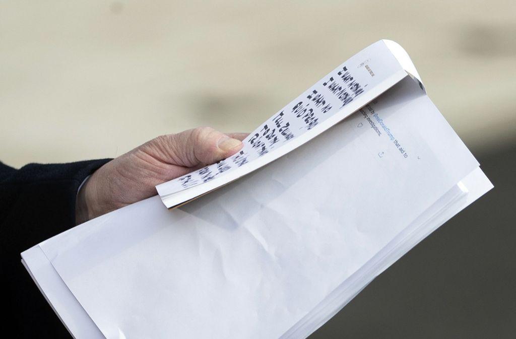 Trumps Notizen bei seiner Rede während der Impeachment-Anhörung. Foto: dpa/Patrick Semansky