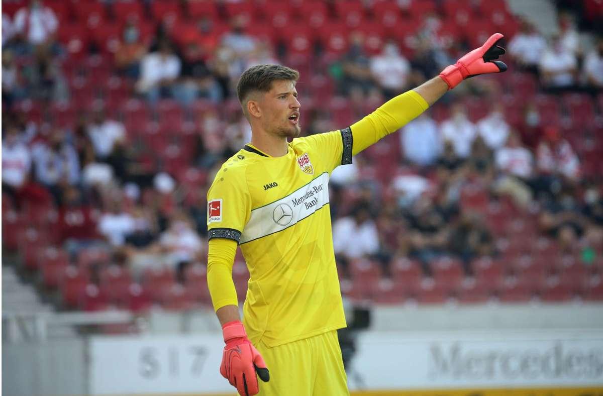 Der Torhüter Gregor Kobel soll auch am Freitag gegen den 1. FC Köln die Abwehr des VfB Stuttgart dirigieren. Am Dienstag hat der Schweizer jedoch nicht trainiert. Foto: Baumann
