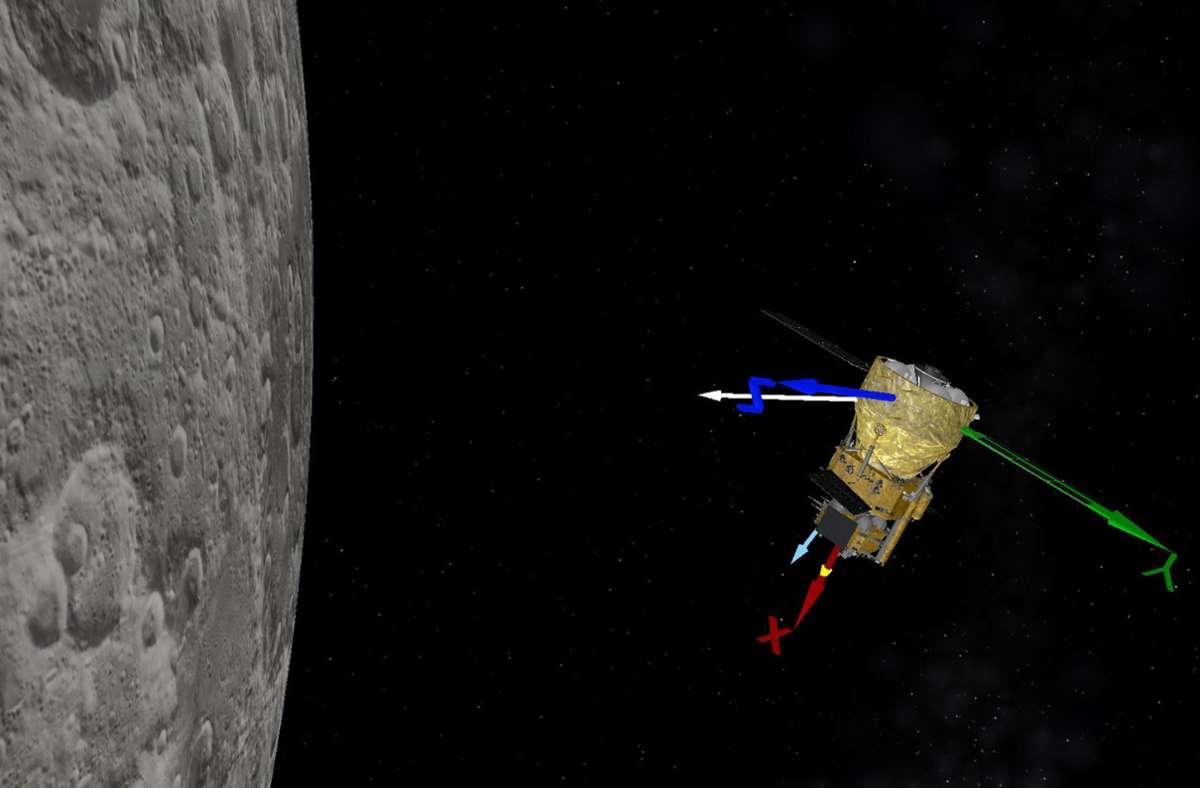 """Auf der Animation, die von der Nationalen Raumfahrtbehörde China (CNSA) zur Verfügung gestellt wurde, wird simuliert, wie die chinesische Sonde """"Chang'e-5"""" einen Bremsvorgang durchführt. Foto: BACC/Handout/Xinhua/dpa"""