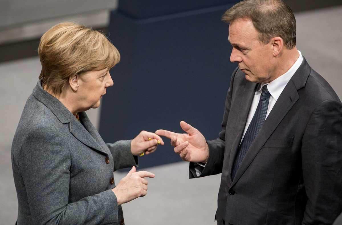 Bundeskanzlerin Angela Merkel (CDU) ist bestürzt über den Tod von Thomas Oppermann (SPD. Foto: dpa/Michael Kappeler