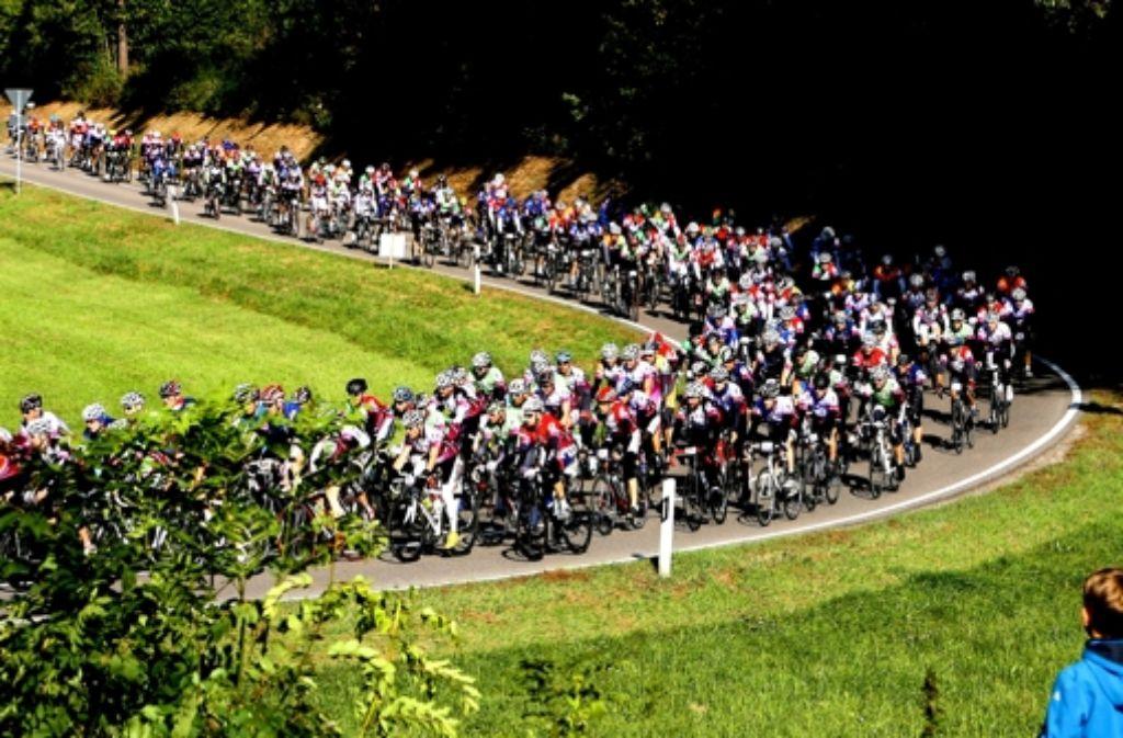 Das gibt's nicht alle Tage: Auf dem Weg von Eberdingen nach Heimerdingen (Höhe Ölmühle) herrscht Hochbetrieb auf Zweirädern. Foto: Andreas Gorr