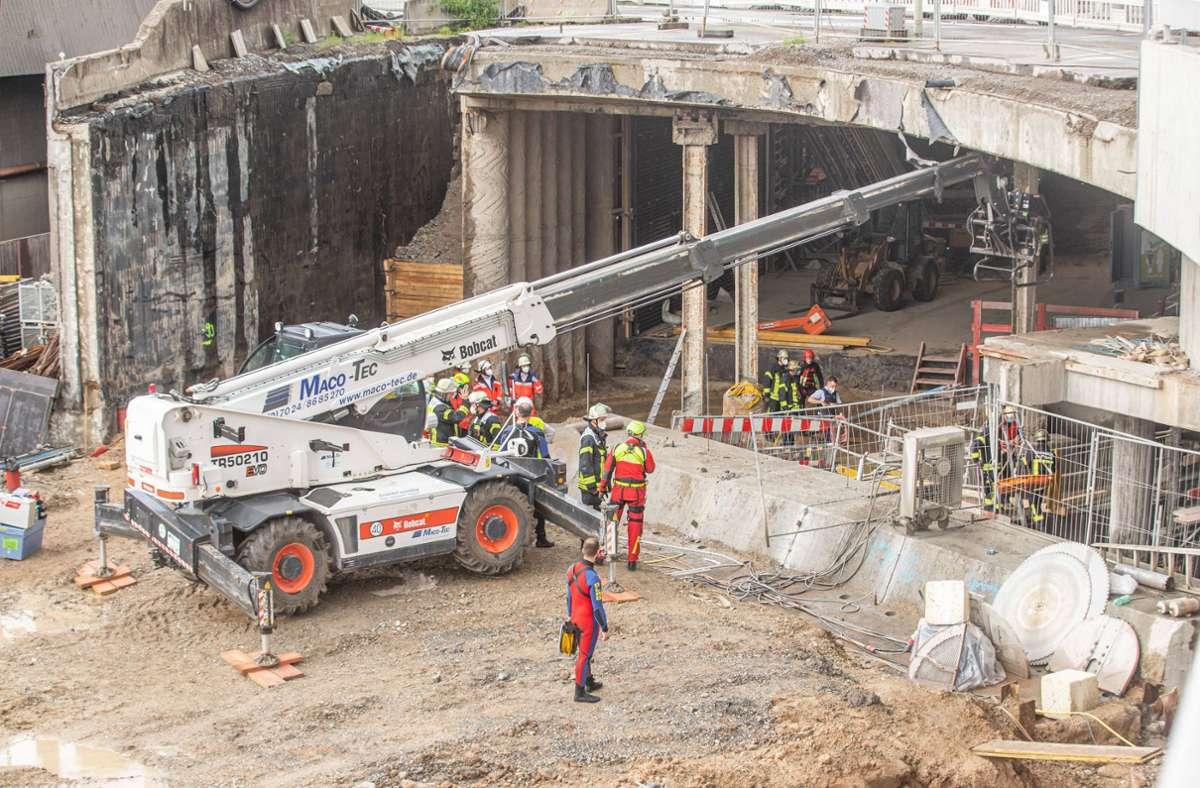 In der Baustelle für die dritte Röhre geschieht der Arbeitsunfall. Foto: 7aktuell/Simon Adomat