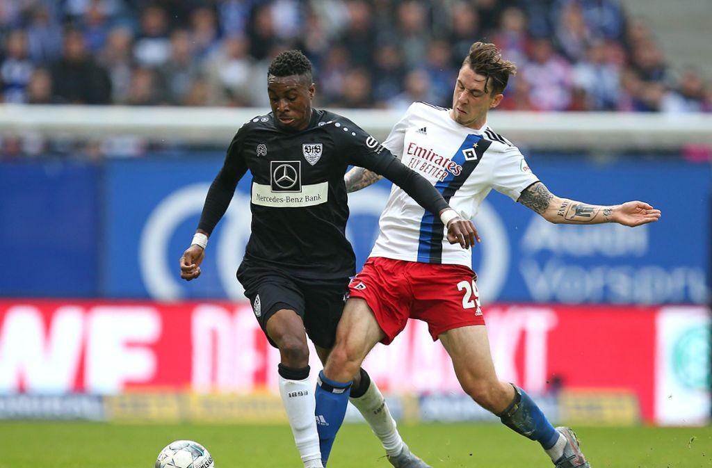 Maxime Awoudja (links) vom VfB Stuttgart steht im Aufgebot der U21-Nationalmannschaft. Foto: Pressefoto Baumann/Cathrin Müller