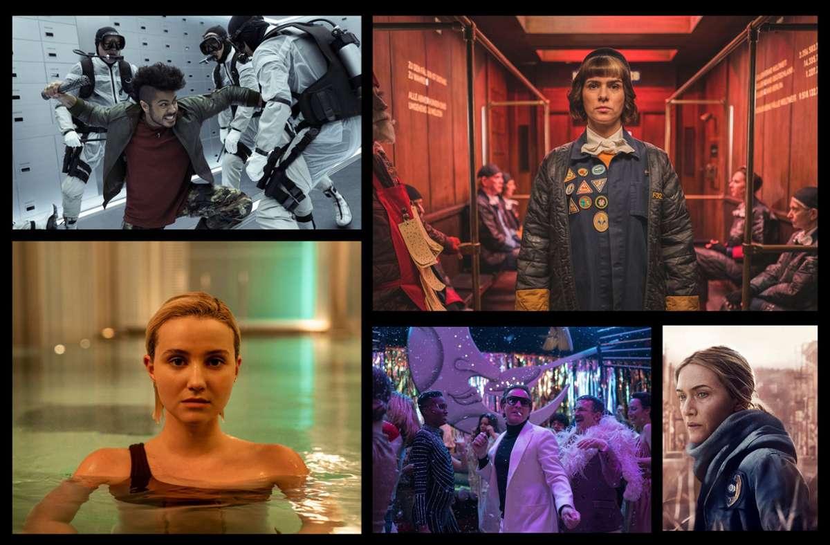 """Wie wäre es zum Beispiel mit """"Jupiter's Legacy"""", """"The Mopes"""", """"Mare of Easttown"""", """"Halston"""" und """"The Girlfriend Experience""""   (von links oben im Uhrzeigersinn)? Unsere Bildergalerie verrät, welche zehn Serien Sie in diesem Monat im Blick haben sollten. Foto: Netflix (2), TNT Comedy, Sky, Starzplay"""