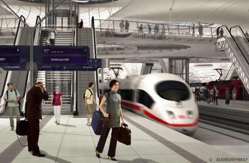 So stellt sich die Bahn die Situation im Tiefbahnhof vor – hier noch ohne die neuerdings  geplanten acht Fluchttreppenhäuser. Foto: Aldinger+Wolf
