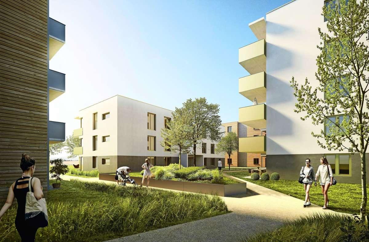 Moderne Gebäude, viel Grün, attraktiv für Familien: So soll das neue Quartier  Grünbühl.living in Ludwigsburg aussehen, wenn alles fertig ist. Foto: WBL