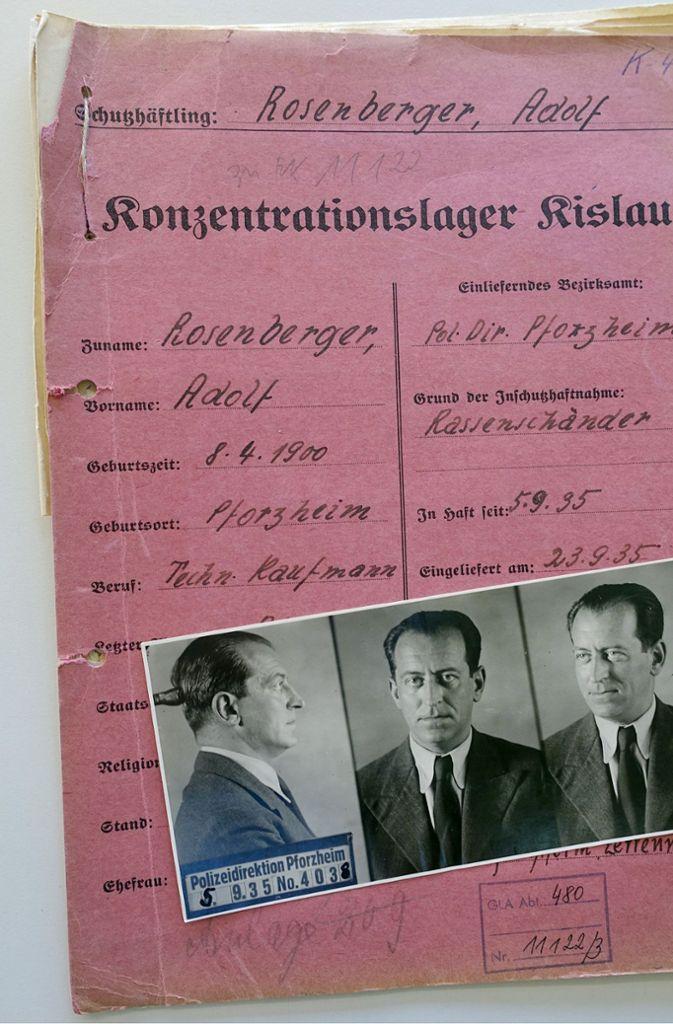 Die KZ-Akte von Adolf Rosenberger aus dem Jahr 1935 Foto: SWR