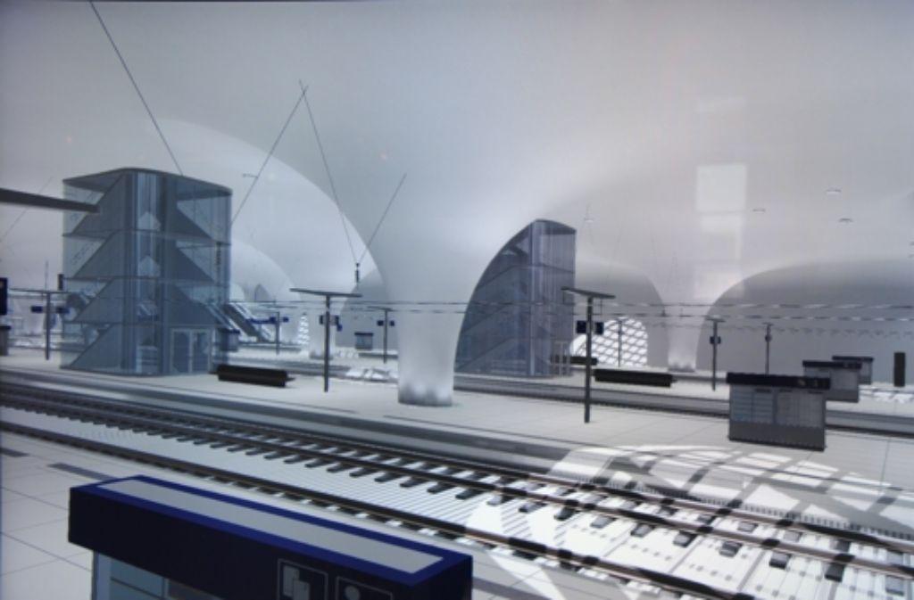 Der Bau der grau eingefassten Treppenhäuser im Tiefbahnhof ist nun genehmigt. Foto: Archiv