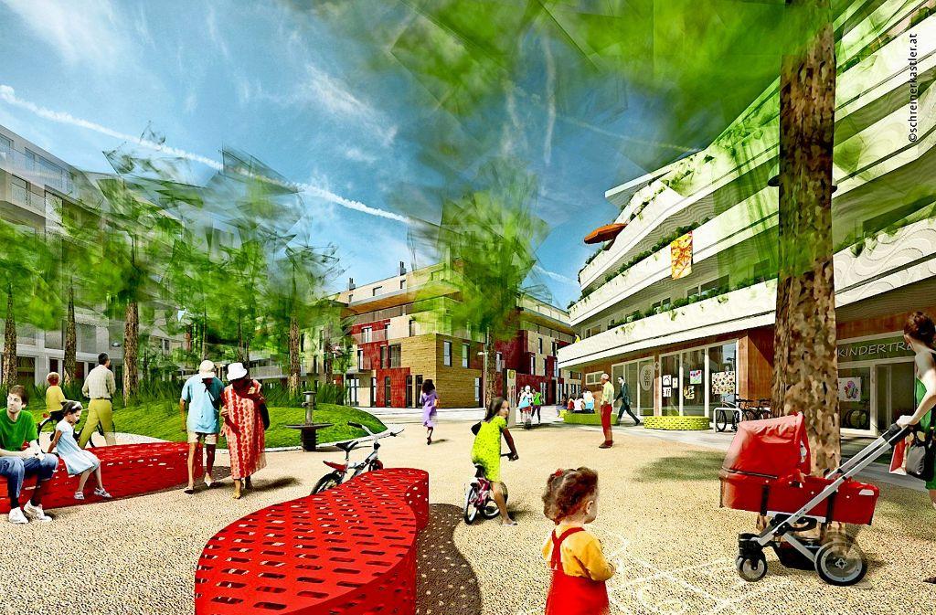In der Seestadt Aspern in Wien werden Elemente der Gartenstadt verwirklicht: Hier sollen ganz verschiedene Bevölkerungsgruppen zusammenleben. Foto: Stadt Wien/schreinerkastler