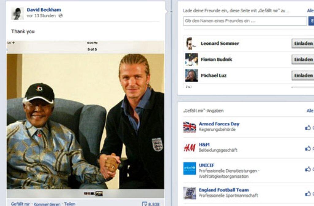 David Beckham stellte auf seine Facebookseite ein Foto, auf dem er gemeinsam mit Nelson Mandela zu sehen ist. Foto: Facebook/Screenshot: SIR