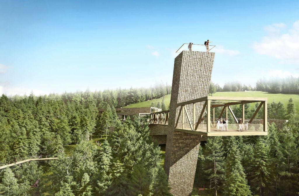 Der geplante Aussichtsturm des Besucherzentrums  und der ihn umgebende Skywalk ist als Brücke aus dem Inneren der Ausstellung in den realen Schwarzwald gedacht. Die Schindeln kommen aus Nordamerika. Foto: bloomimages