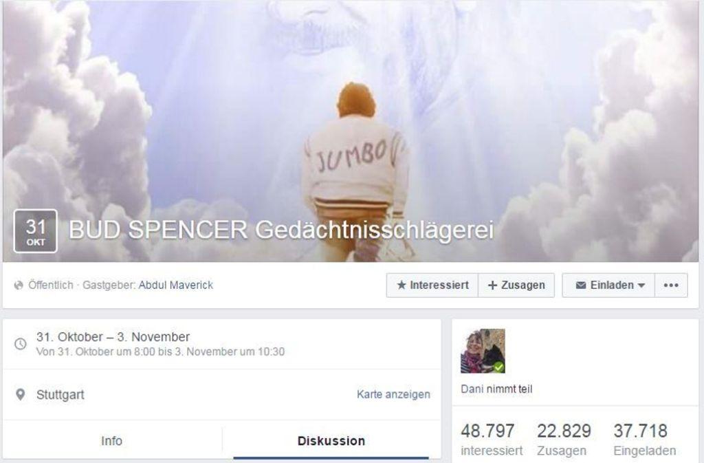 Geschmacksache: Die Einladung zur Bud Spencer Gedächtnisschlägerei. Foto: StZ