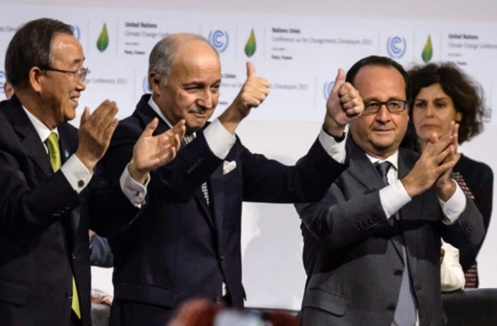 Die Politik feiert den Erfolg des UN-Klimagipfels. Foto: AFP