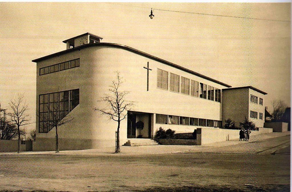 So sah die 1933 erbaute Brenzkirche  aus, bevor sie 1939 umgebaut wurde. Foto: Bauheft 1