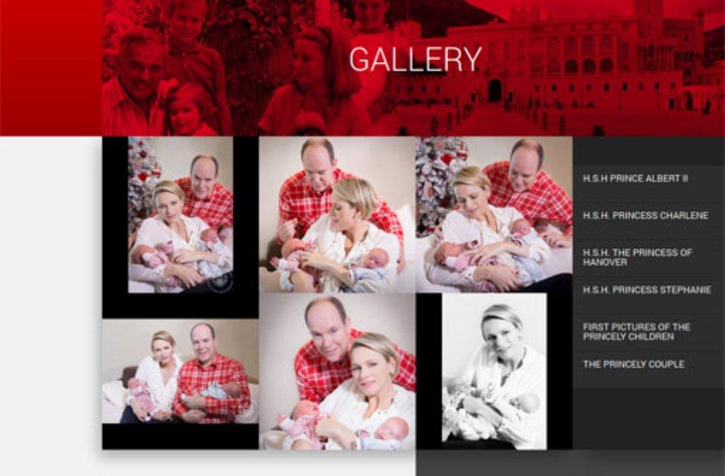 Auf der Homepage des monegassischen Königshauses zeigte sich die junge Familie bereits mit den Zwillingen. Nun werden Gabriella und Jacques das erste Mal in der Öffentlichkeit präsentiert. Foto: https://www.palais.mc