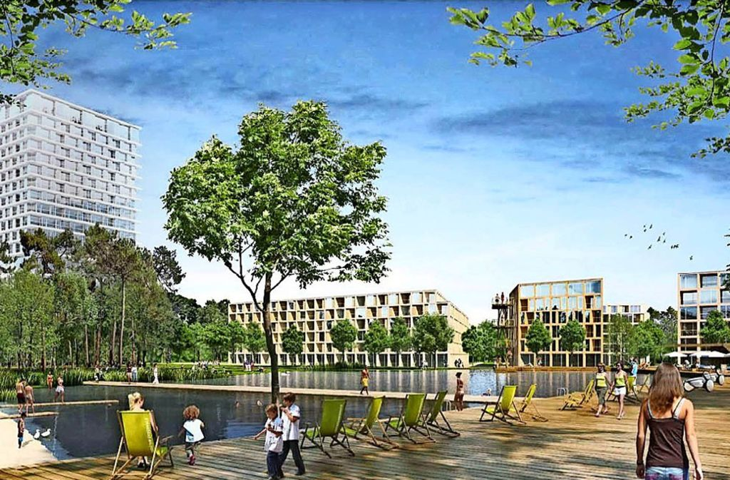 So stellen sich die Architekten den fertigen Garden Campus vor. Foto: SSN Group/Steidle Architekten/Realgrün Landschaftsarchitekten