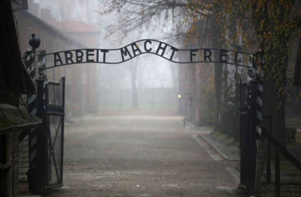 Sprinkler zur Abkühlung der Besucher am KZ von Auschwitz – das sorgt bei manchen für Verärgerung. Foto: Getty