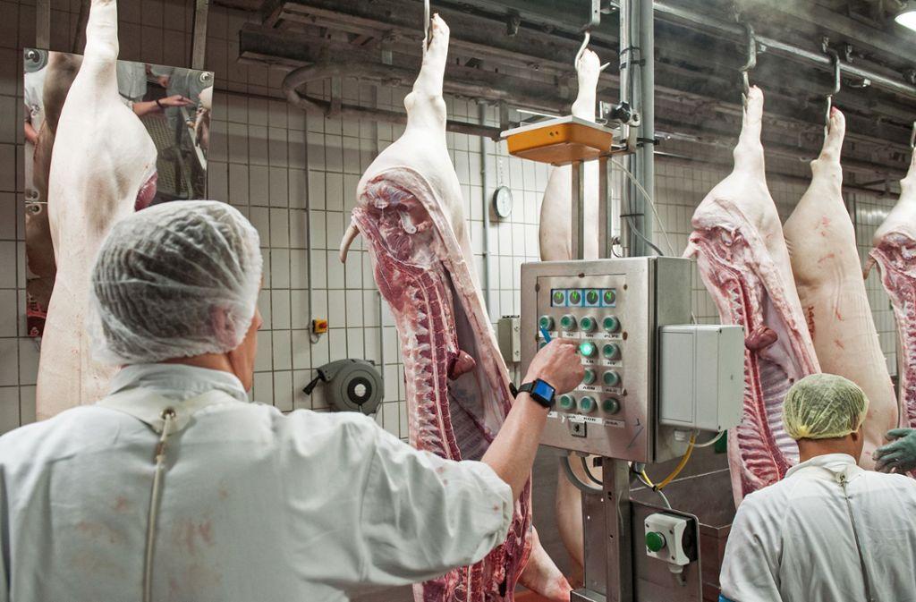 Bundesweit hatte es in mehreren Schlachthöfen hohe Zahlen anInfektionen gegeben. Foto: dpa/Ingo Wagner