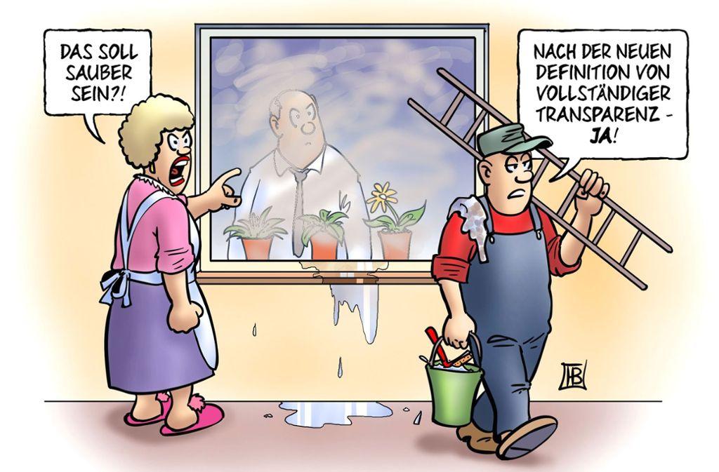 Behörden und Bürger haben oft unterschiedliche Vorstellungen, wie weit die Transparenz des Staates zu gehen hat. Foto: Karikatur: dieKLEINERT/Harm Bengen