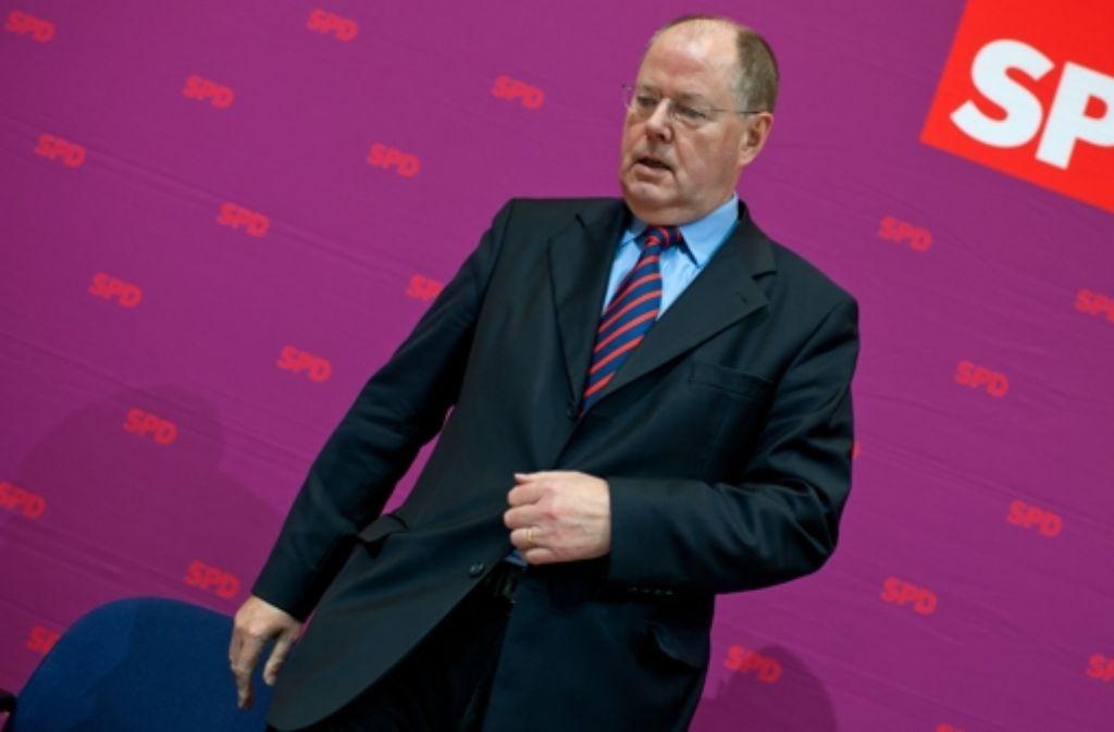 ... und am Ende kam auch noch Pech dazu: SPD-Kandidat Peer Steinbrück Foto: dpa