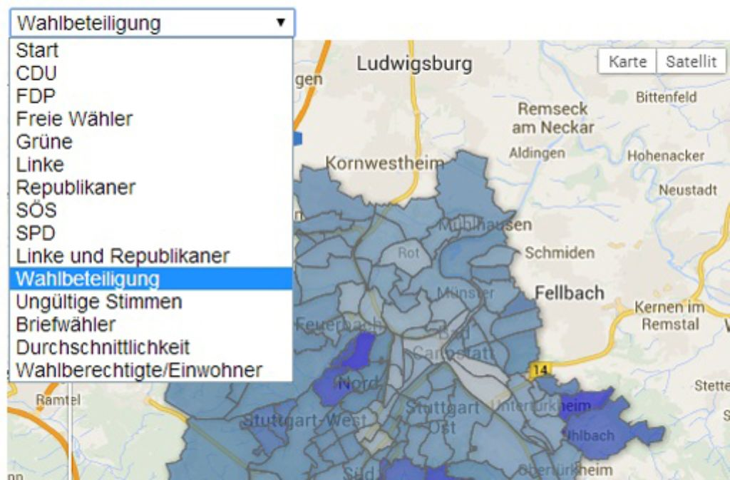 Im Wahlatlas Stuttgart können Sie Daten zur Kommunalwahl 2009 nach Stadtteil analysieren. In dem Text unten erklären wir, wie es geht. Foto: Screenshot