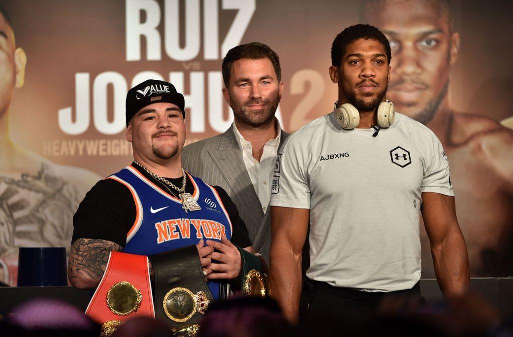 Andy Ruiz jr. (links) will  Anthony Joshua möglichst alt aussehen lassen. Foto: AFP/FAYEZ NURELDINE