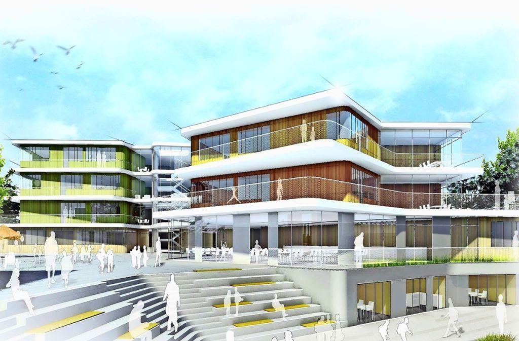 Im September  2019  soll die  Gemeinschaftsschule des Schulzentrums  eröffnen. Foto: Büro Behnisch Architekten