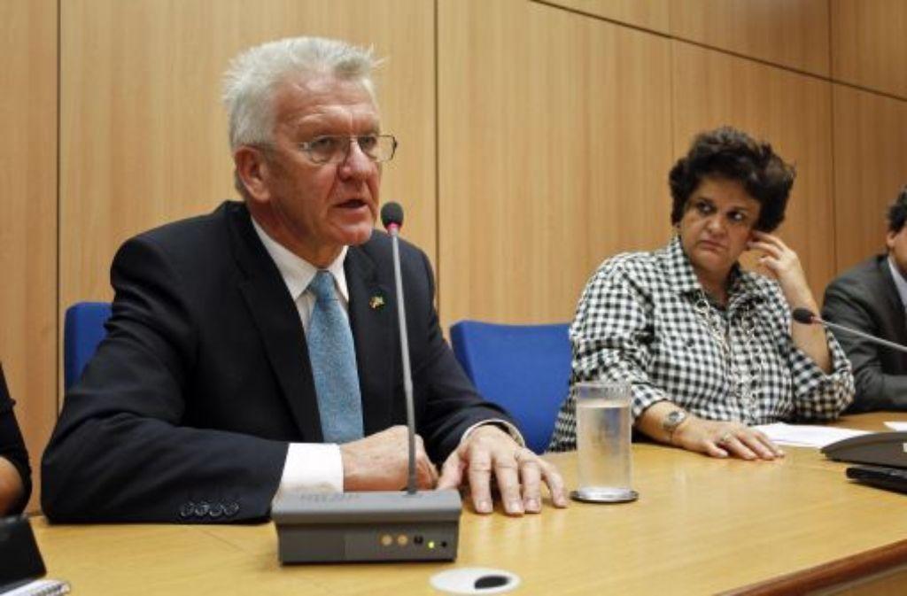 Winfried Kretschmann  mit der Umweltministerin Izabella Teixeira. Foto: dpa