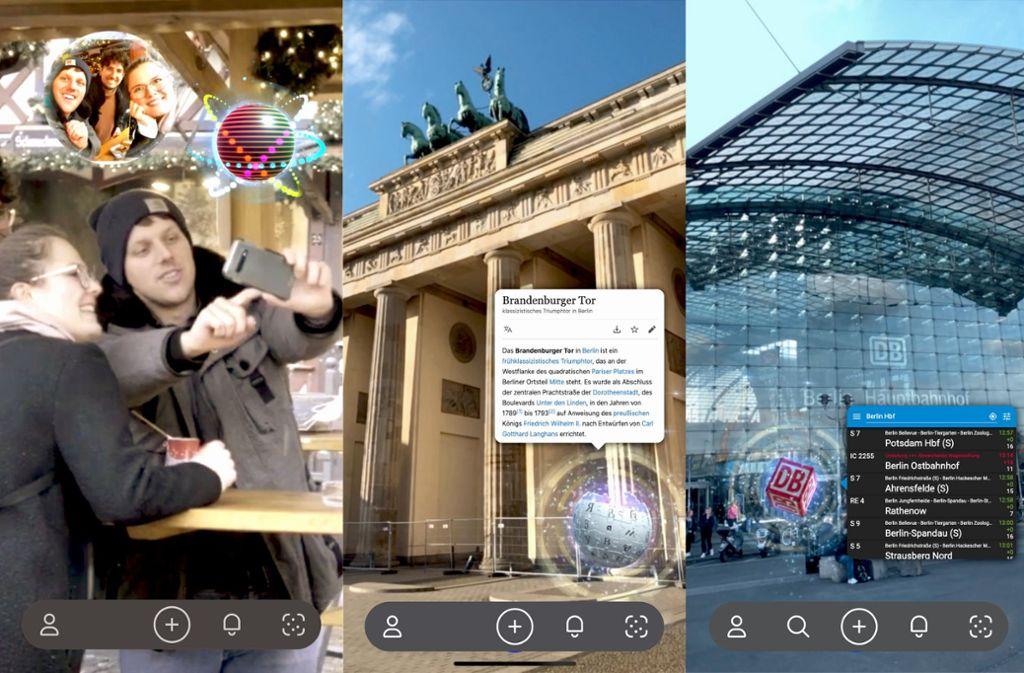 Drei Smartphone-Ausschnitte, die zeigen, wie virtuelle Motive und Informationen in der realen Welt  platziert werden können Foto: Marble