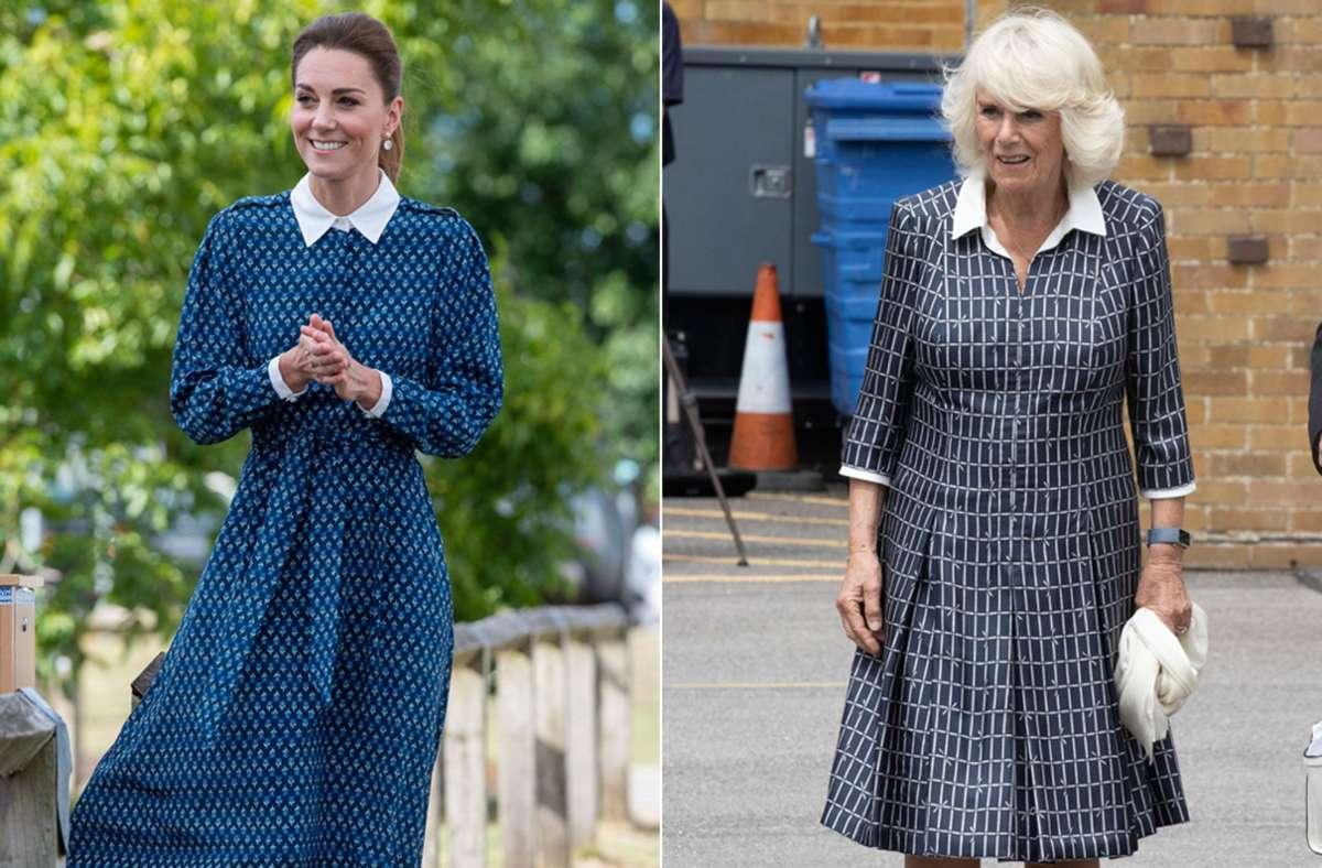 Zwei Royals, ein Look: Herzogin Kate (links) und Herzogin Camilla scheinen einen ähnlichen Geschmack zu haben. Foto: Imago/Stephen Lock