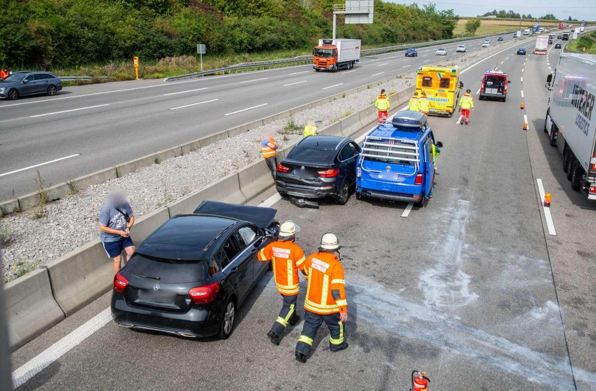 An dem ersten Unfall waren drei Autos beteiligt. Foto: 7aktuell.de/ NR/7aktuell.de   NR