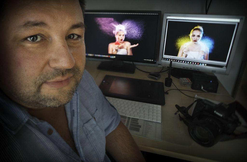 Daniel Stimac erzielt alle Effekte bereits beim Fotografieren,  nicht erst am Computer. Foto: Gottfried Stoppel