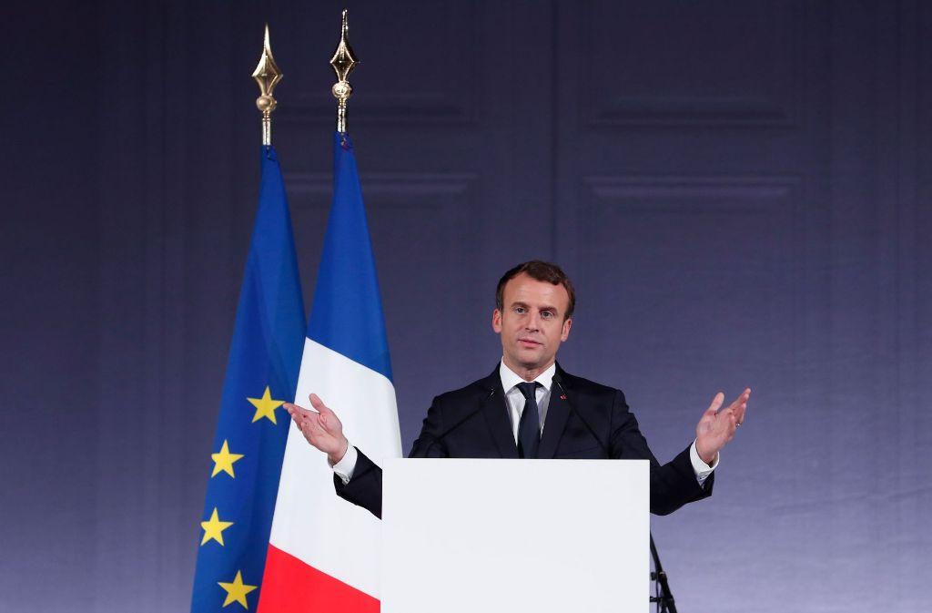Emmanuel Macron spricht auf dem Klimagipfel in Paris. Foto: AFP