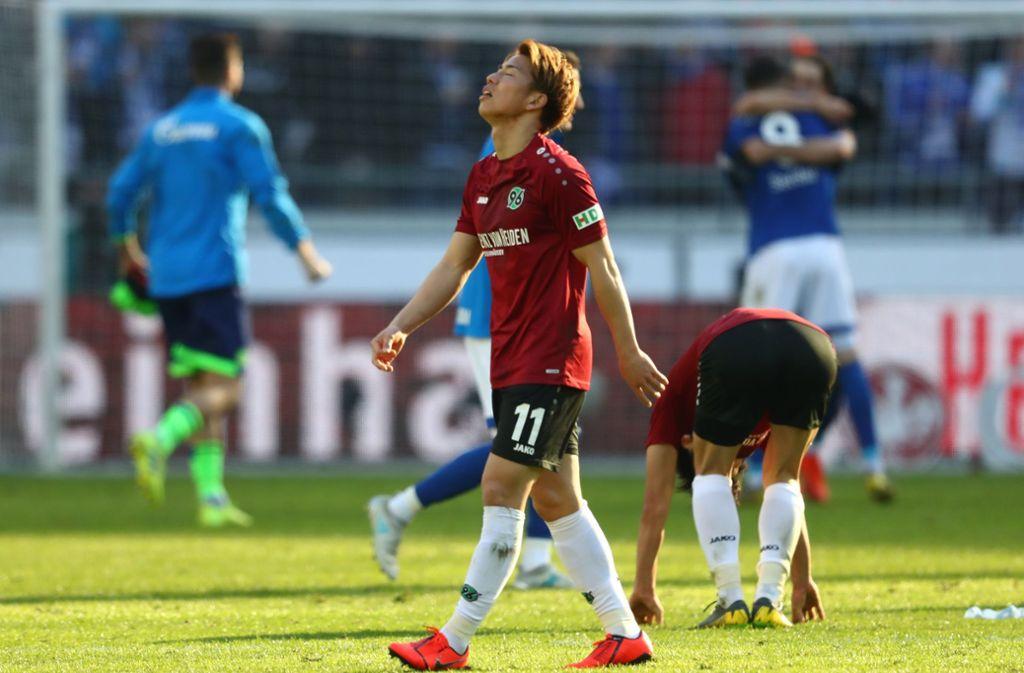 Diese Bundesliga-Saison dürfte für Takuma Asano bereits zu Ende sein – der letzte Einsatz im 96-Trikot war am 31. März gegen den FC Schalke 04. Foto: Getty