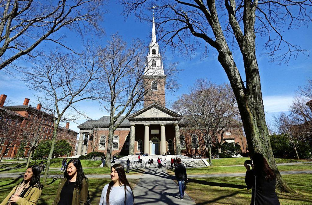 Begehrte Kaderschmiede: Blick auf den Campus von Harvard Foto: AP